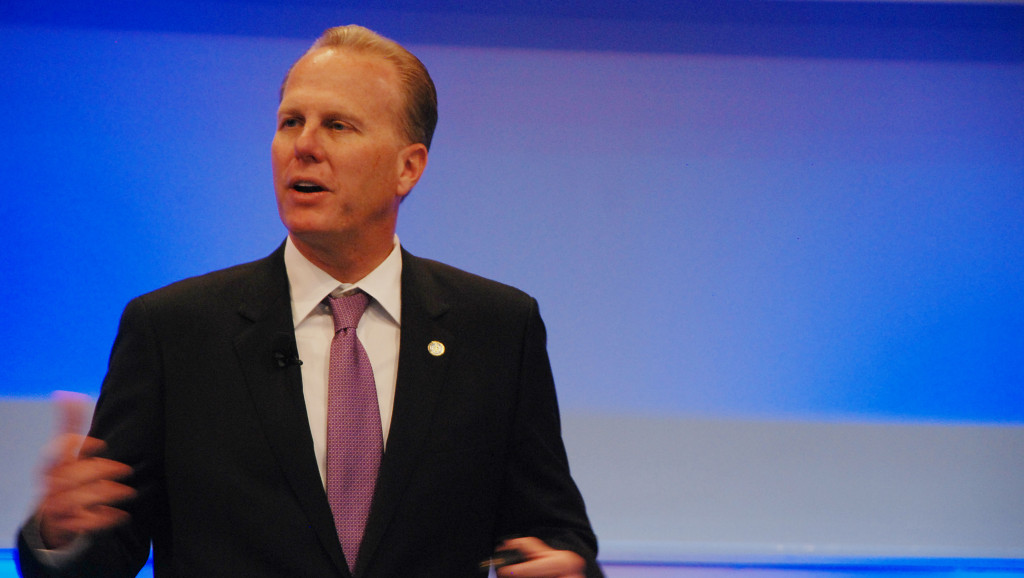 Mayor Kevin Faulconer at the Smart Cities Council conference at Qualcomm in Mira Mesa. Photo credit: Alexander Nguyen