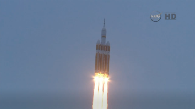 The Orion spacecraft blasts off atop a Delta 4 Heavy rocket. Courtesy NASA TV