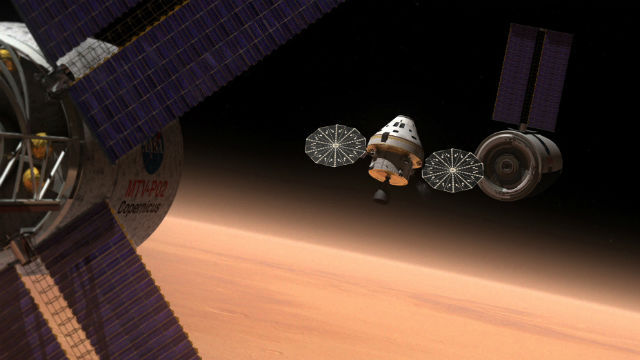 Artist's rendering of an Orion spacecraft over Mars. Courtesy NASA