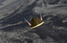 NASA rendering of Orion's re-entry into the atmosphere.