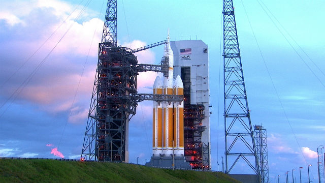 The Orion spacecraft on a Delta IV Heavy rocket on the launchpad in Florida. NASA photo