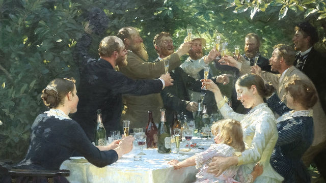 "Scene from the painting ""Hip, Hip, Hurrah!"" by Danish painter P.S. Krøyer. Image via Wikimedia Commons"