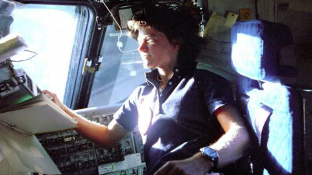 Sally Ride on a Space shuttle. Courtesy Sally Ride Science