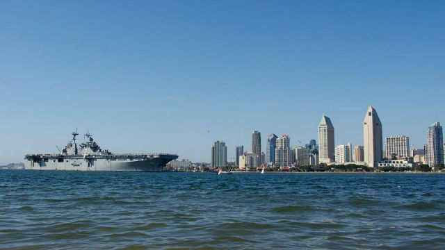 The USS Essex in San Diego Bay. Navy photo