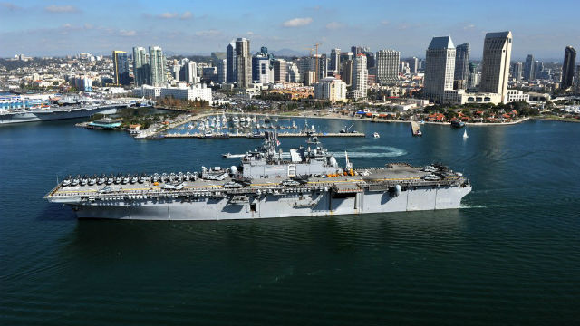 The USS Makin Island departs San Diego on an earlier mission. Navy photo