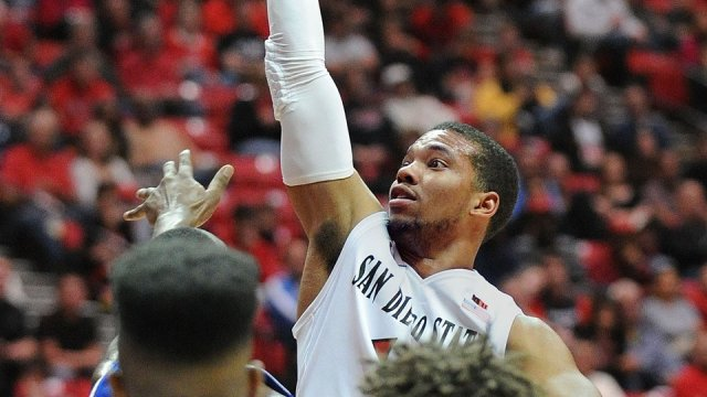 SDSU senior guard Aqeel Quinn goes up for a shot against UC Riverside. Courtesy of GoAztecs Facebook.