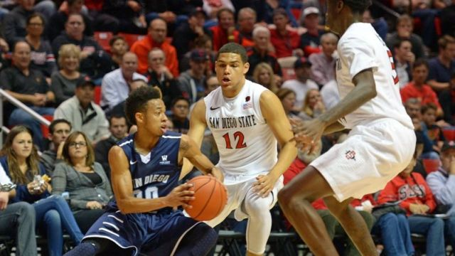 SDSU freshman guard Trey Kell and senior forward Dwayne Polee II double-team USD senior guard Chris Anderson. Courtesy of westcoastconvo.com