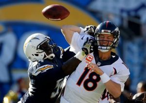 San Diego Chargers outside linebacker Melvin Ingram forces a fumble on Denver Broncos quarterback Peyton Manning. Courtesy of San Diego Chargers Facebook.