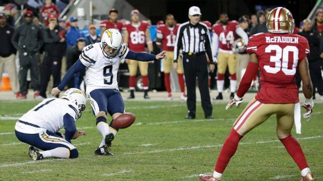 San Diego Chargers kicker Nick Novak kicking the game-winning 40-yard field goal in overtime. Courtesy of San Diego Chargers Facebook.
