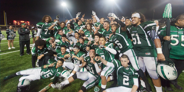 Oceansides football team celebrates after winning the CIF San Diego Section championship. Courtesy of osidenews.com