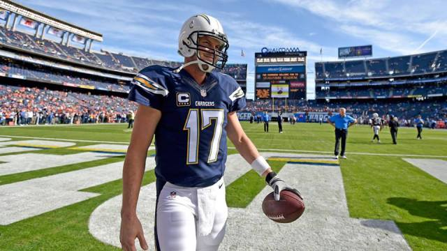 San Diego Chargers quarterback Philip Rivers warms up for the team's game against the Denver Broncos. Courtesy of San Diego Chargers Facebook.