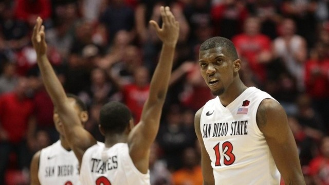The SDSU mens basketball team celebrates a win in the NCAA tournament in 2013. Courtesy of vegaswise.com.
