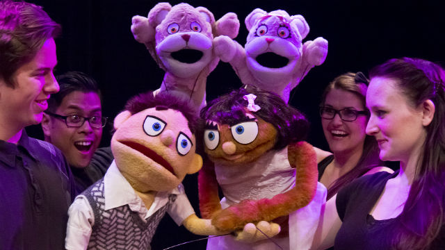 "Scene from ""Avenue Q"" at the Coronado Playhouse."