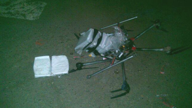 The drug-carrying drone with meth bundles. Photo courtesy Tijuana Secretary of Public Security