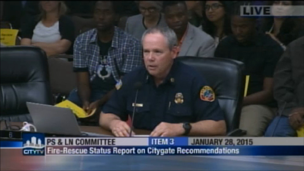 Fire-Rescue Chief Javier Mainar at City Council Committee Meeting