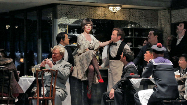 Sara Gartland as Musetta in the  San Diego Opera's 50th anniversary production of La Boheme.