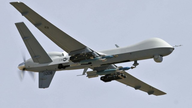 An MQ-9 Reaper carrying Hellfire missiles. Courtesy General Atomics