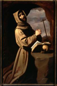 """Francisco de Zurbarán, """"St. Francis in Prayer in a Grotto,"""" circa 1655."""