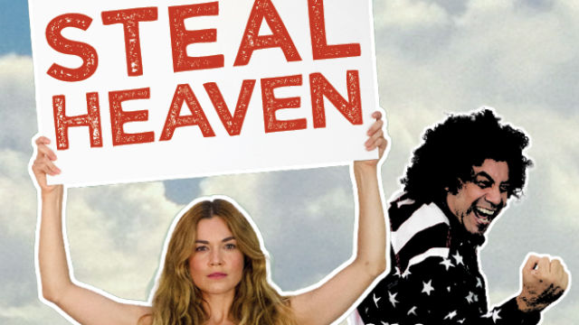 "Poster for the play ""Steal Heaven"" at the San Diego Repertory Theatre"