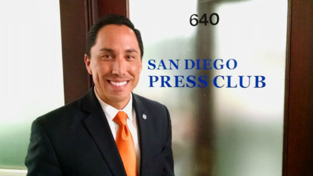 San Diego City Councilman Todd Gloria outside the San Diego Press Club office in the historic Spreckels Building downtown. Photo by Chris Jennewein