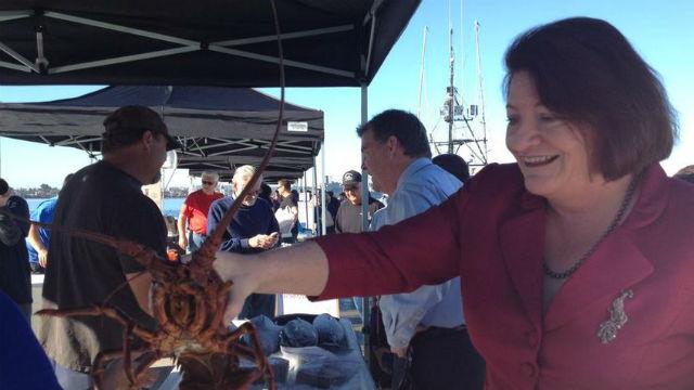 Toni Atkins at Tuna Harbor Dockside Market on Saturday. Courtesy Atkins' office