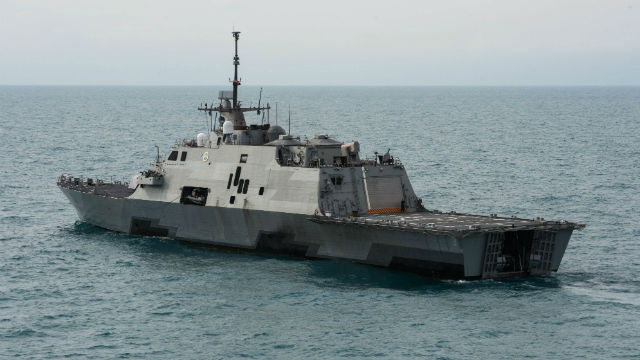 The littoral combat ship USS Fort Worth operates near the location where the tail of AirAsia Flight QZ8501l was discovered. Navy photo