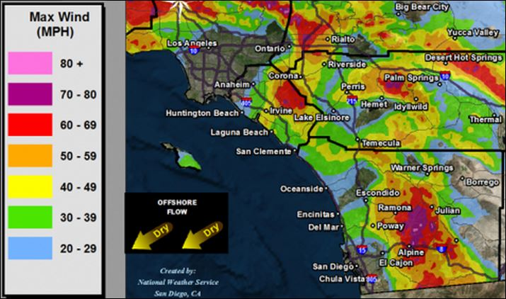 san diego wind map Santa Ana Winds Hit San Diego County Partially Close I 8 Times