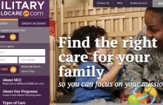Homepage of new Department of Defense website for child care.  MilitaryChildCare.com
