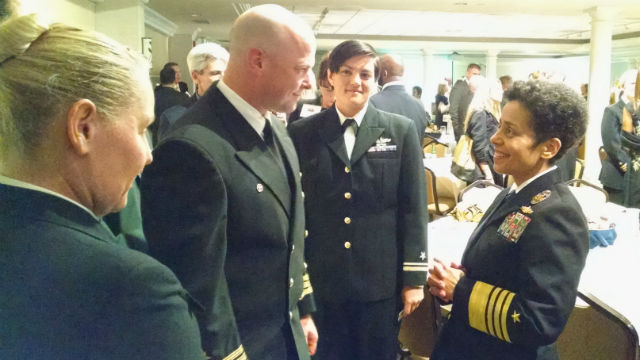 Admiral Michelle Howard speaks with Navy personnel after the SDMAC awards ceremony. Photo by Chris Jennewein