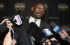 LaDainian Tomlinson speaks to media before his induction into the Breitbard Hall of Fame.