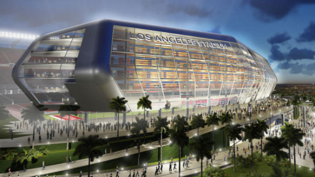 Artist's rendering of proposed Carson football stadium. Courtesy Carson2gether