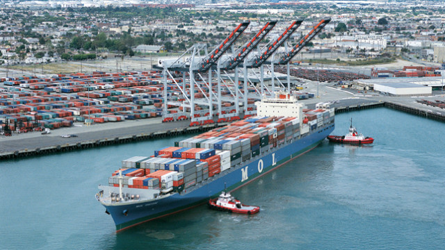 A container ship at the Port of Los Angeles. Photo courtesy of the port