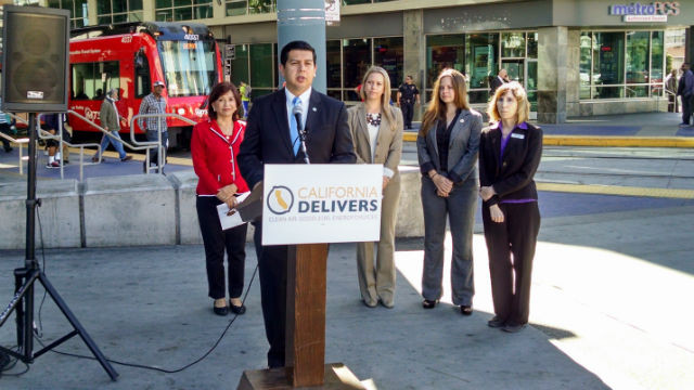 San Diego City Councilman David Alvarez discusses the benefits of Assembly Bill 32. Photo by Chris Jennewein