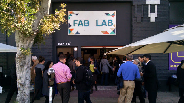 Crowds at the entrance to Fab Lab San Diego on 14th Street in the East Village. Photo by Chris Jennewein