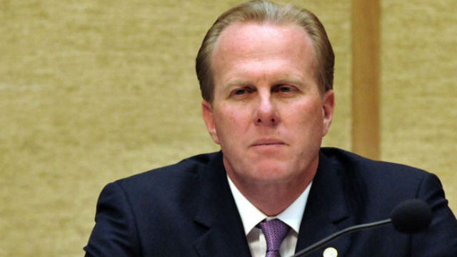 Mayor Kevin Faulconer in the San Diego City Council chambers. Photo by Chris Stone