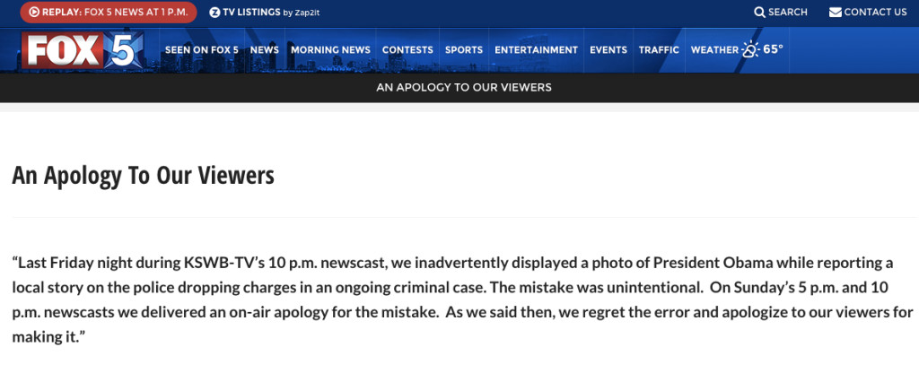 Apology posted on Fox5SanDiego.com in wake of Obama photo error.