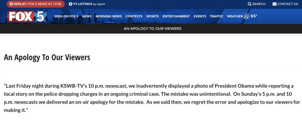 Apology posted on Fox5SanDiego.com in wake of Obama photo error.