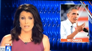 """President Obama, with legend """"NO CHARGES,"""" appeared over anchor Kathleen Bade's shoulder during report on San Diego State sex-assault case on the 10 o'clock news Friday the 13th. Image from KSWB-TV"""