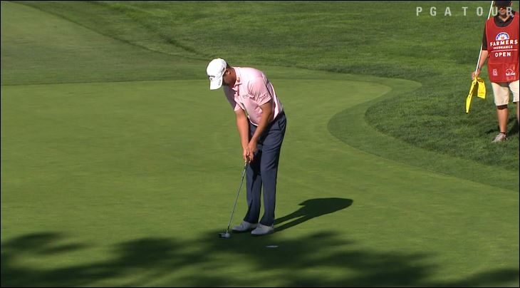 Harris English makes a put in round 2 of the Farmers Insurance Open. Image from PGA video