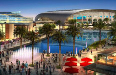 Architect's rendering of the proposed City of Champions revitalization project with 80,000-seat stadium in Inglewood. Courtesy Hollywood Park Land Co.