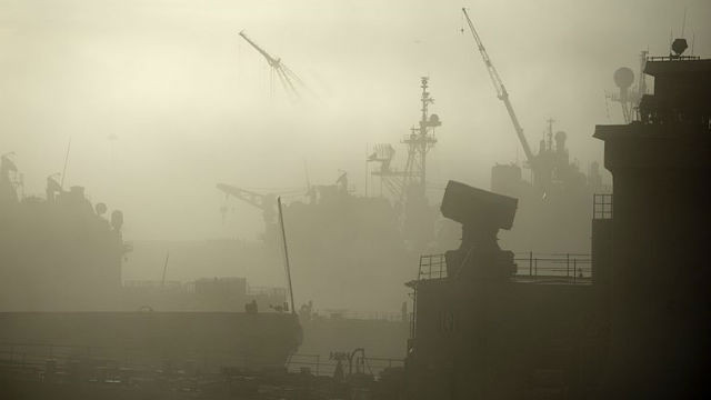 Fog shrouds ships at Naval Base San Diego is this file photo from the Navy.