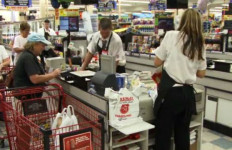Single-use plastic bags at a supermarket in California. Image from Bag the Ban video