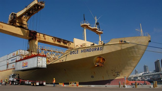 Unloading a container of bananas at the Port of San Diego. Port photo via Wikimedia Commons