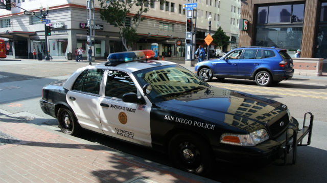 A San Diego Police cruiser on a downtown street. Photo by Adbar via Wikimedia Commons