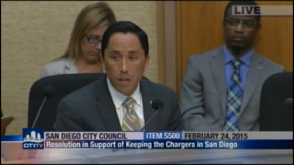 Todd Gloria at the City Council meeting Tuesday approving a resolution to keep the Chargers in town. Photo credit: CityTV