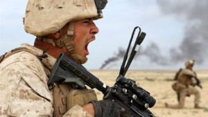 Marine Cpl. Ty-Michael Maes  during a live-fire assault exercise with Saudi Marines. Marines Corps photo