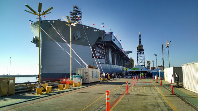 General Dynamics NASSCO employees ready the USNS Lewis B. Puller for its christening. Photo by Chris Jennewein