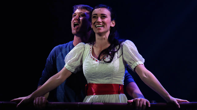 "Jacob Caltrider as Tony and Jessica Soza as Maria in ""West Side Story"" at  San Diego Musical Theatre."