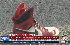The shoe of the boy who was struck in a fatal car accident in El Cajon. Courtesy of ABC 10 broadcast.