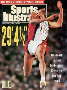 Mike Powell graced the cover of Sports Illustrated after his Beamon-beating world record.  Image via siikids.com